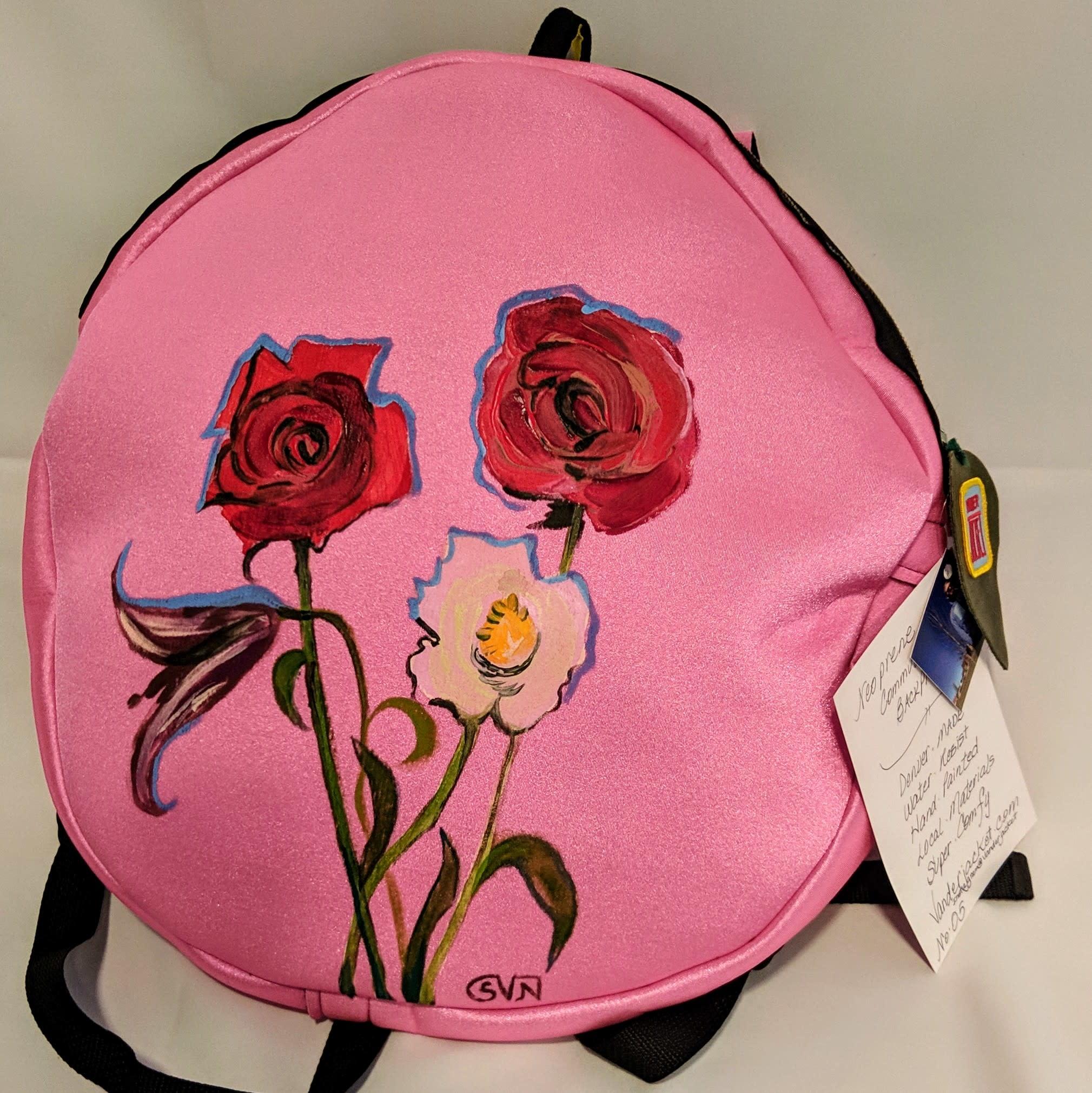 Sarah Vanderneut Neoprene Backpack Pink - Hand Painted Floral Design