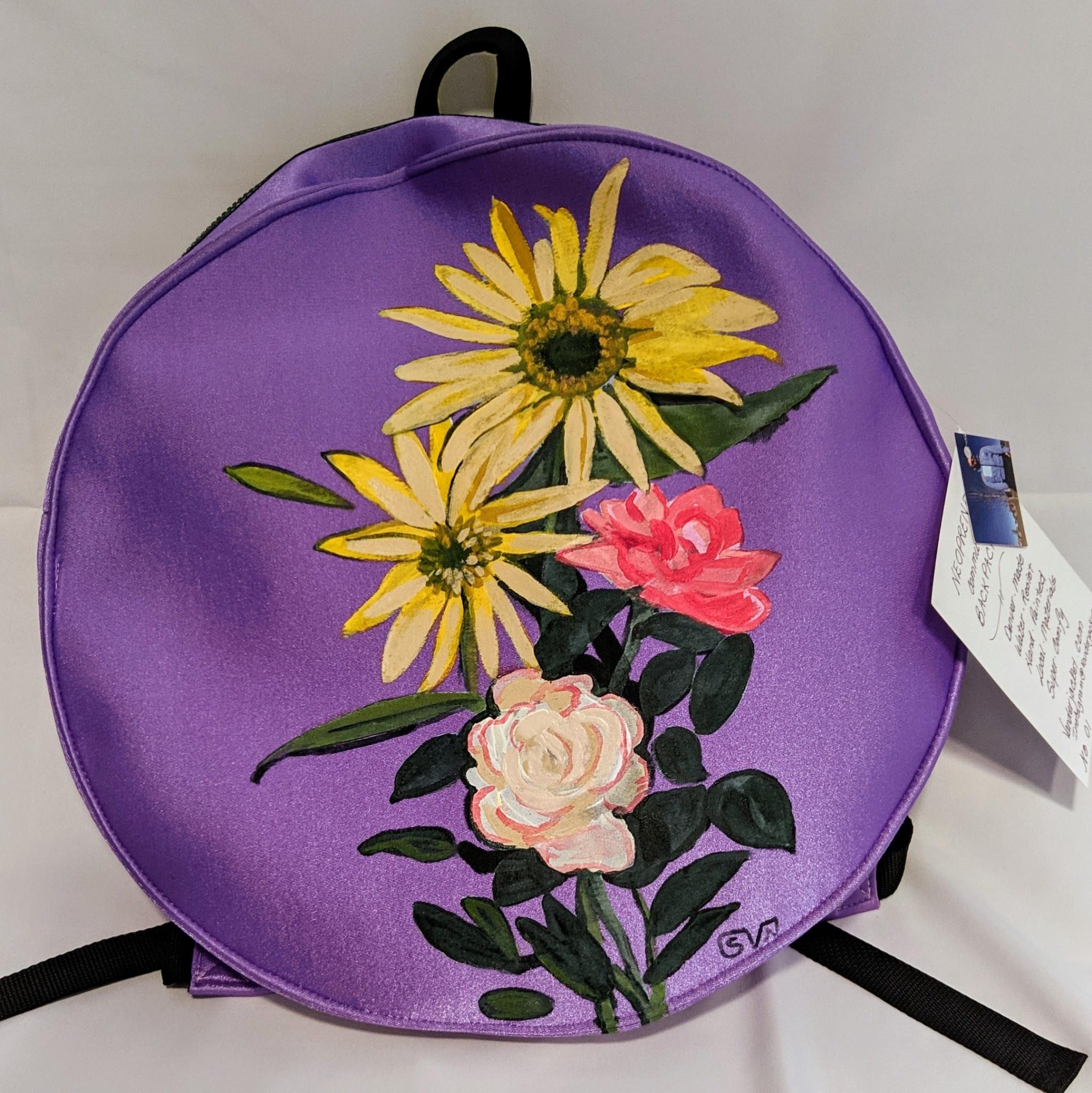 Sarah Vanderneut Neoprene Backpack Purple - Hand Painted Floral Design