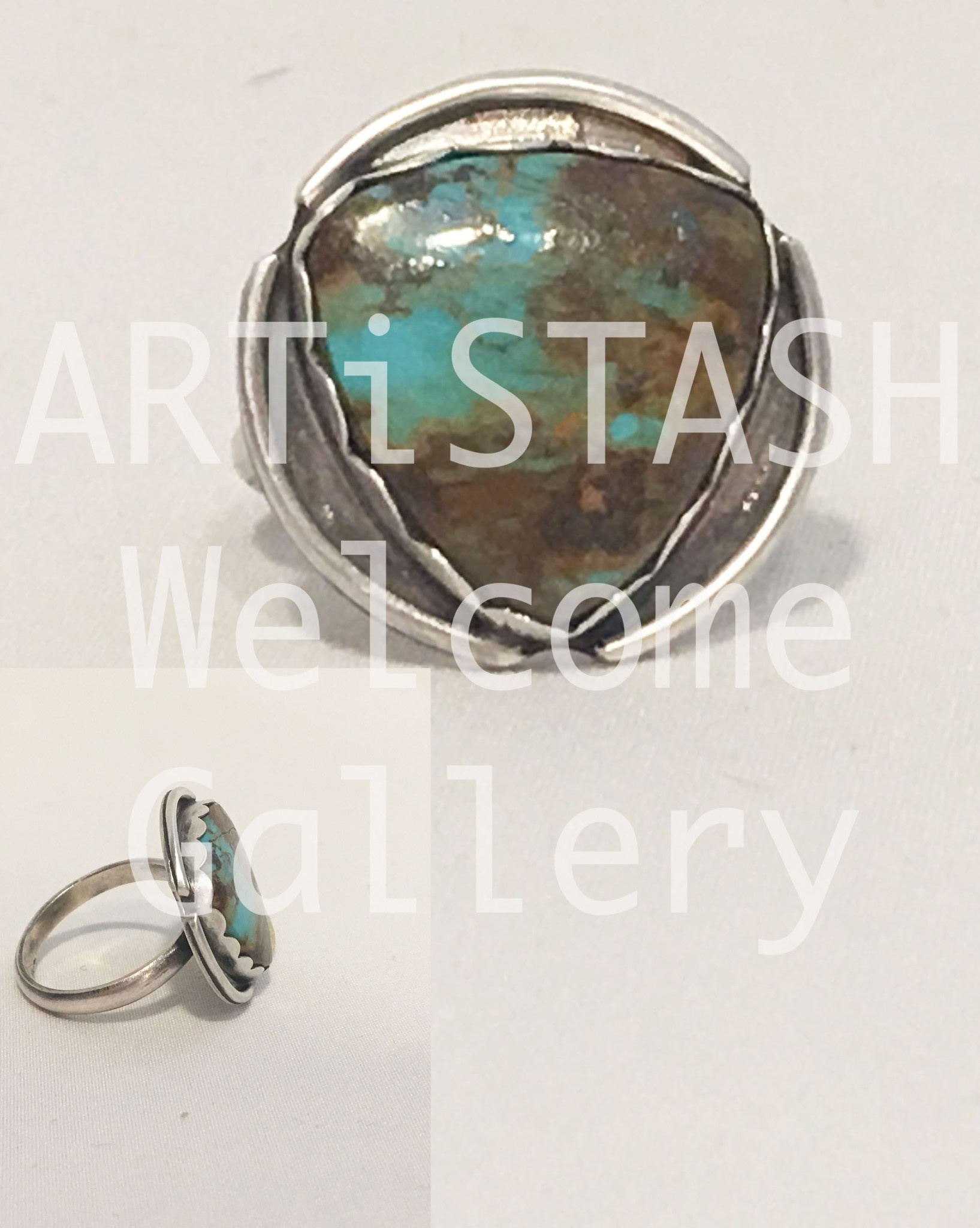 Sarilynn Studio Turquoise Triangle Ring Size 8-1/2 Sterling Silver