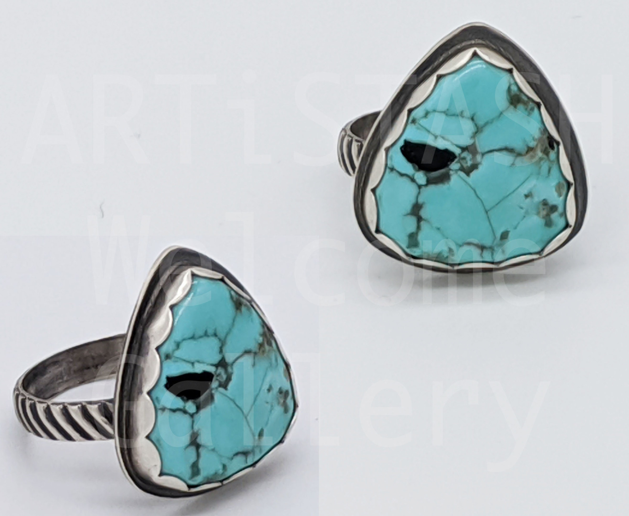 Sarilynn Studio Turquoise Triangle Ring Size 6-3/4 Sterling Silver