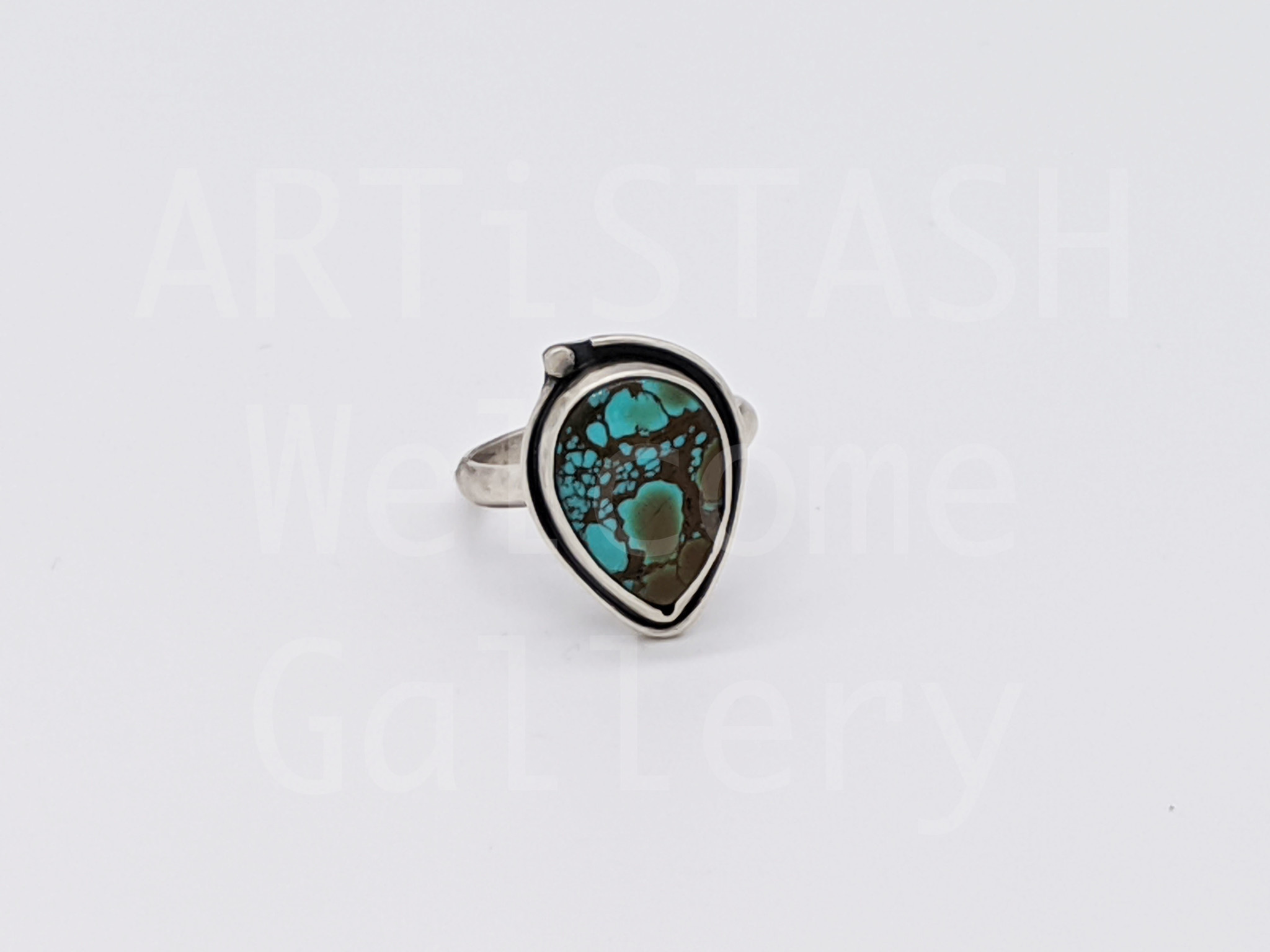Sarilynn Studio Turquoise Pear Ring Size 7-1/2 Sterling Silver
