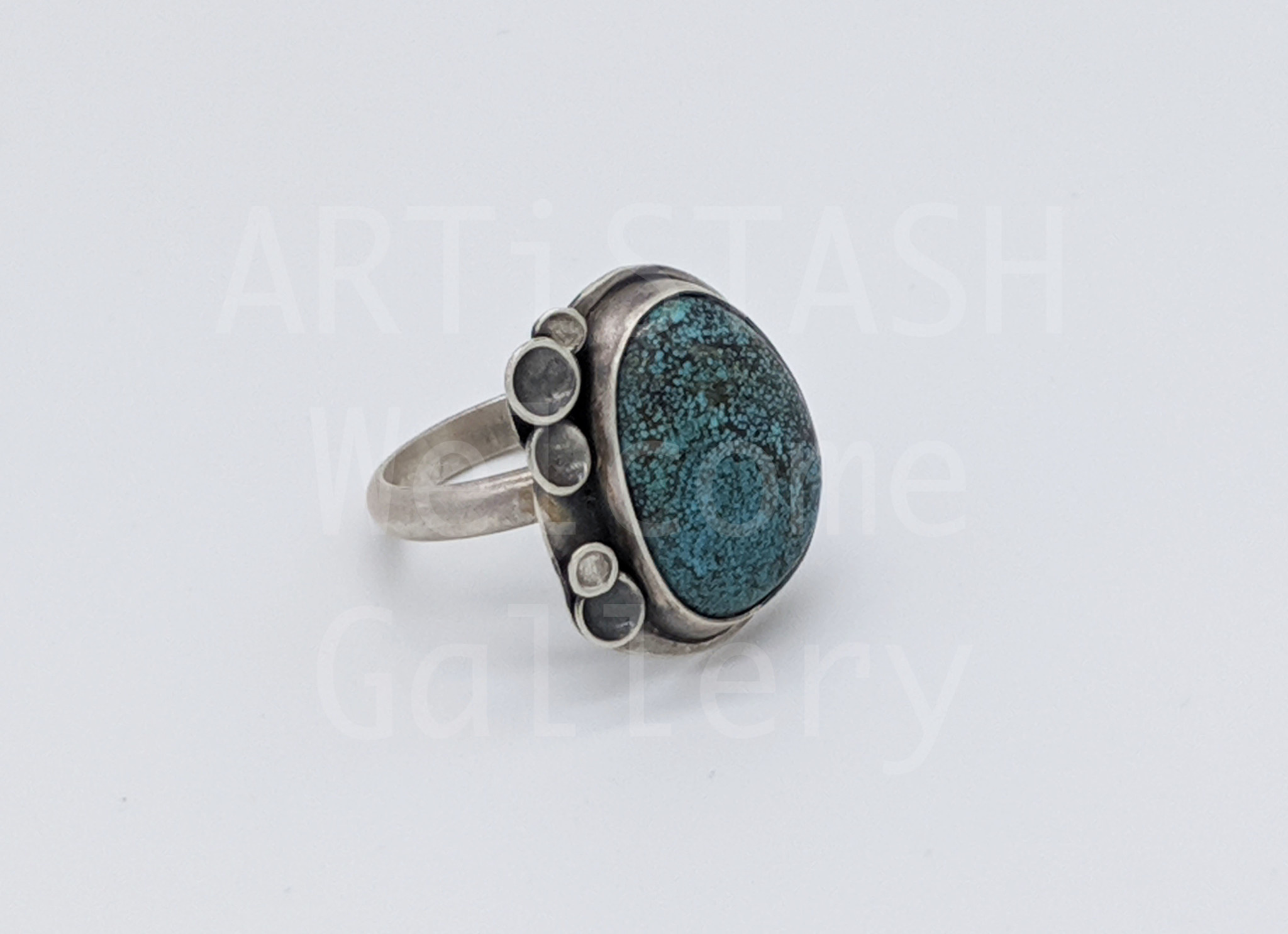 Sarilynn Studio Turquoise Bubbles Ring Size 8 Sterling Silver