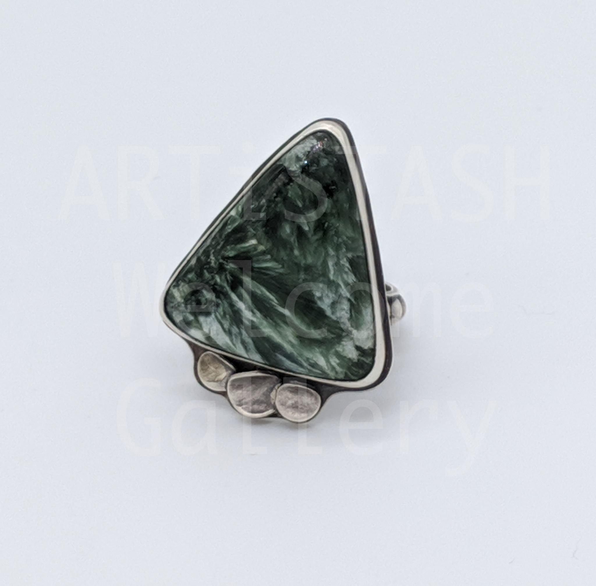 Sarilynn Studio Seraphinite Ring Size 9 Sterling Silver