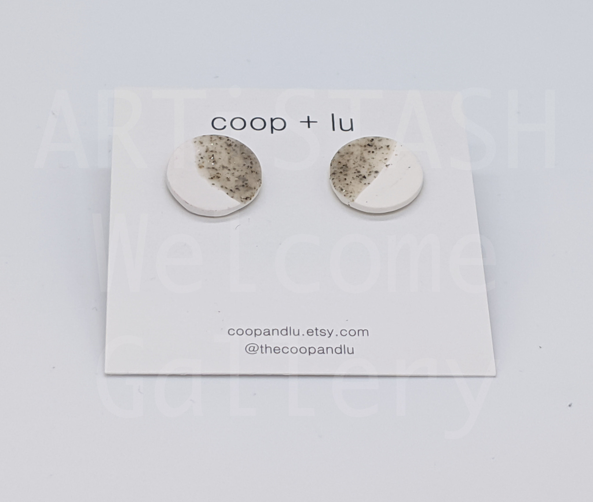 Coop + Lu Medium (10mm) White and Grey Speckled  Earrings