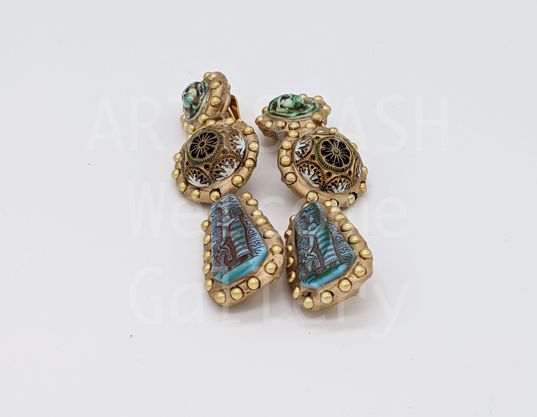 Richard Minadeo Egyptian Revival Earrings by Richard Minadeo