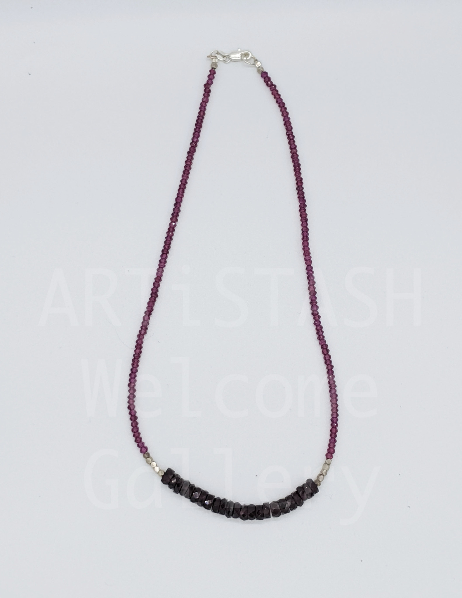 """Starshine Designs - Christy Gurley 18"""" Garnet and Silver Bead Necklace"""