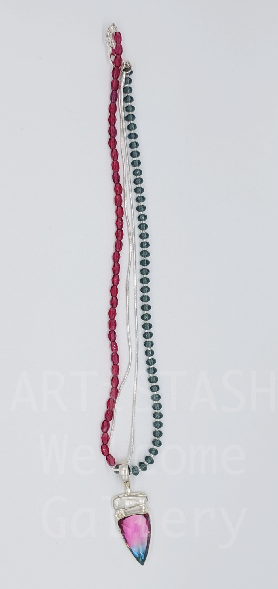 "Starshine Designs - Christy Gurley 18"" Twisted 2'Strand Necklace with Garnet and Crystal Beads and Bi-colored Tourmaline and Biwa Pearl SS Pendant"