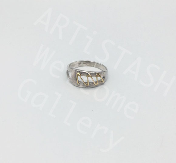 Ed Ripley 14K Yellow Gold and Sterling Ring, Size 6