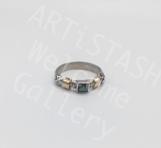 Ed Ripley Green Topaz 14K Gold and Sterling Ring, size 9.5