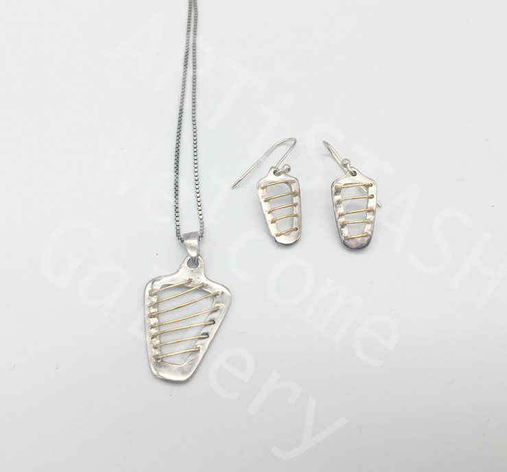 Ed Ripley 14K Yellow Gold and Sterling Pendant and Earring Set