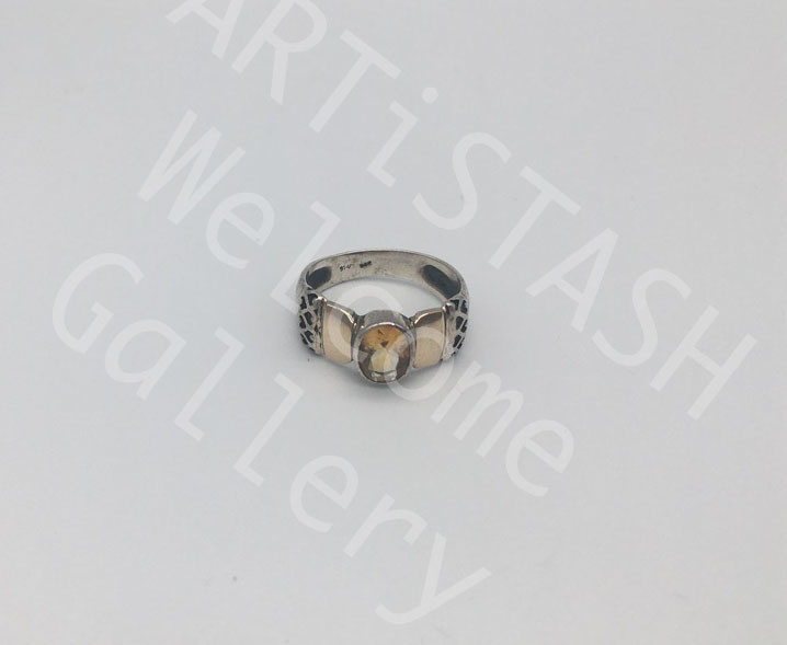 Ed Ripley Citrine Ring, 14K Yellow Gold and Sterling, Size 9