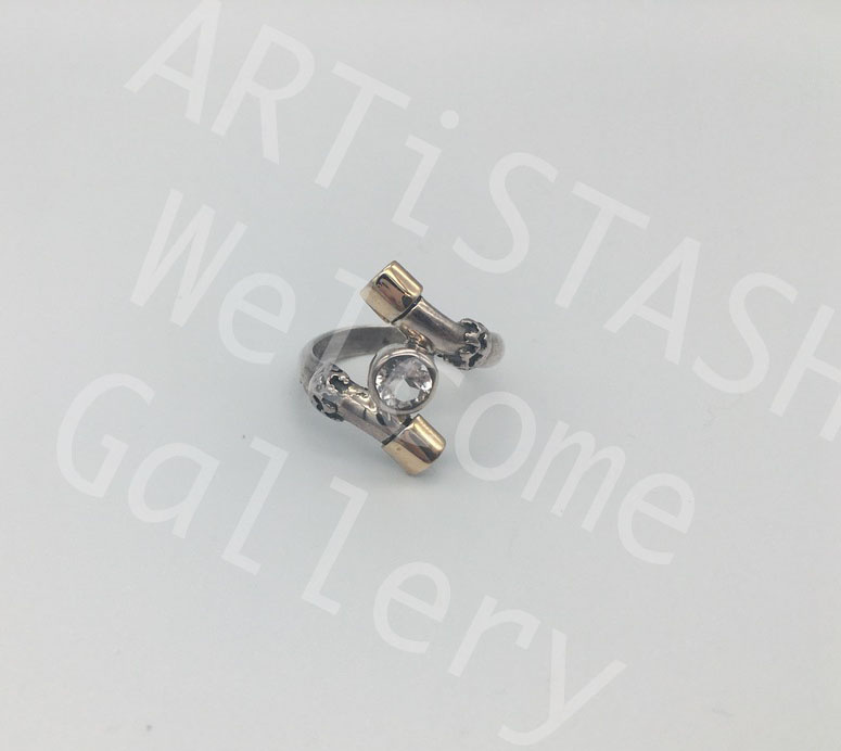 Ed Ripley White Topaz Ring, 14K Gold and Sterling, Size 7.5