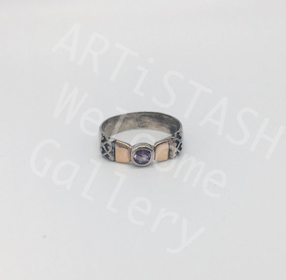 Ed Ripley Amethyst Ring, 14K Gold and Sterling, Size 8.5