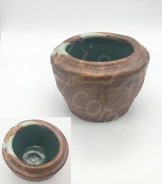 Sarah Ramirez Brown Vase with Turquoise Inside