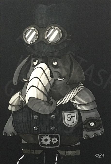 Caro Bernardini Steampunk Trunk Postcard