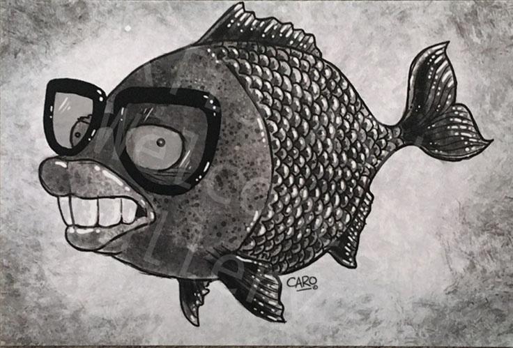 Caro Bernardini Big Teeth Fish Postcard