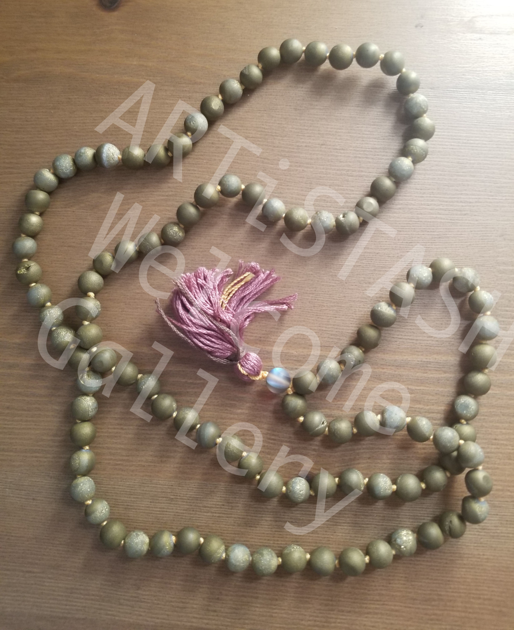 Just Sabine Mala Beads, Druzy Quartz, 108 Beads