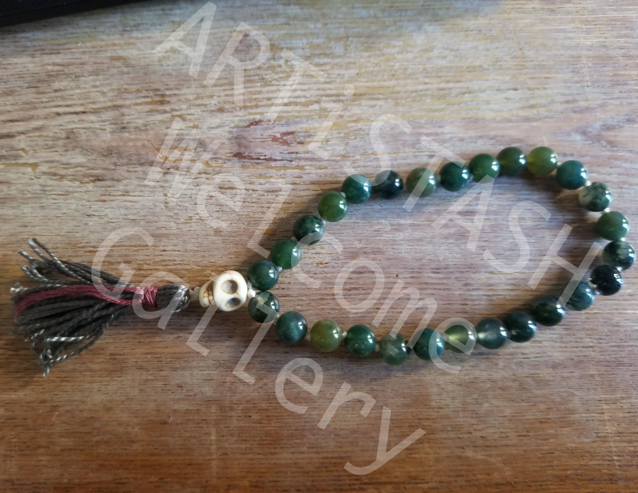 Just Sabine Mala Beads, Moss Agate, 27 Beads