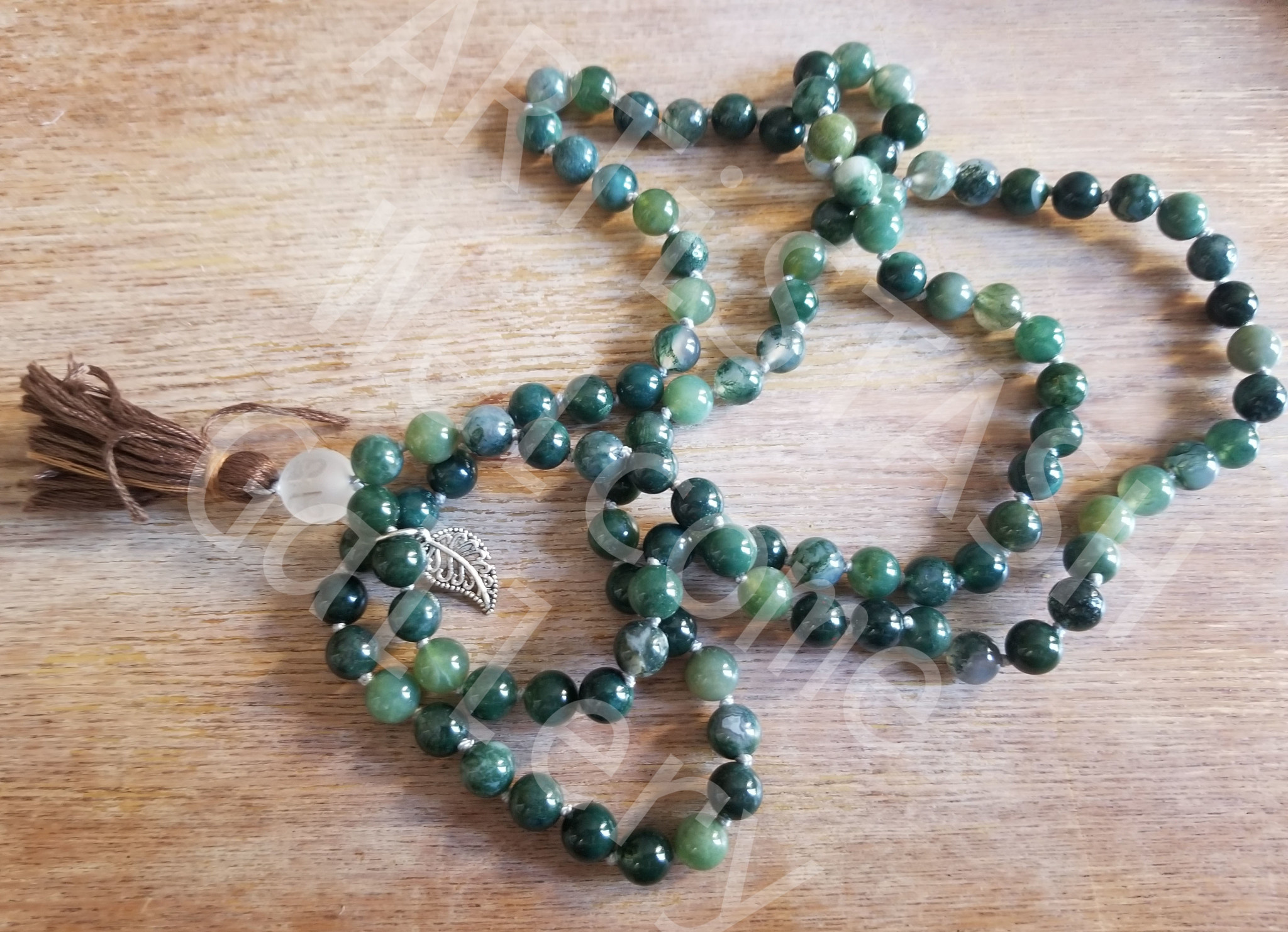 Just Sabine Mala Beads, Moss Agate, 108 Beads