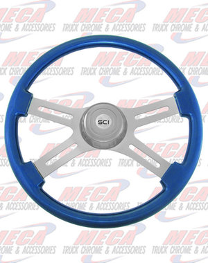 INSIDE STEERING WHEEL ECO BLUE 4 SPOKE W/ RECT HOLES