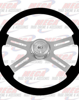 INSIDE STEERING WHEEL ECO BLACK 4 SPOKE W/ RECT HOLES