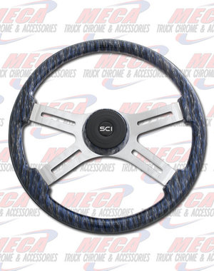 INSIDE STEERING WHEEL 4 SPOKE WILDFIRE BLUE MATCH BEZEL