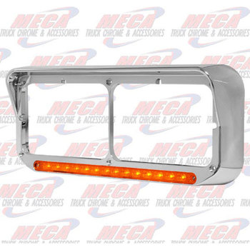 CHROME HDLT BEZEL W/ LED AMBER & VISOR