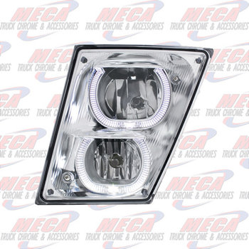 VOLVO VN/VNL SLANTED FOG LIGHT DRIVER SIDE 04-10 W/ ROUND HALO