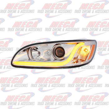 HEADLIGHT HOUSING PB 386/387 DRIVER SIDE CHROME W/LED