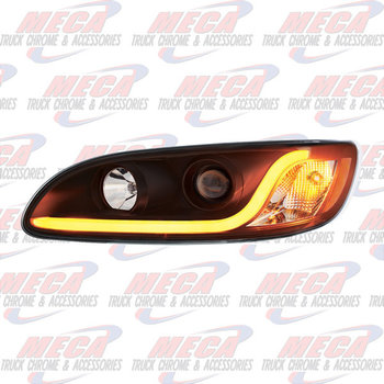 HEADLIGHT HOUSING PB 386/387 DRIVER SIDE BLACK W/LED