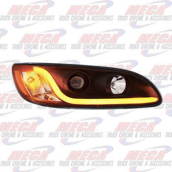 HEADLIGHT HOUSING PB 386/387 PASSENGER SIDE BLACK W/LED