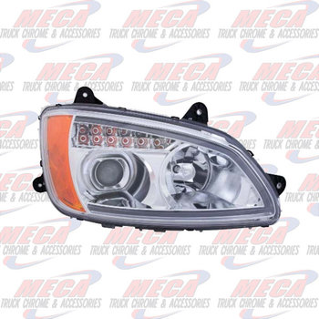 HEADLIGHT ASSEMBLY KW T660 T700 DRIVER SIDE CHROME PROJECTOR
