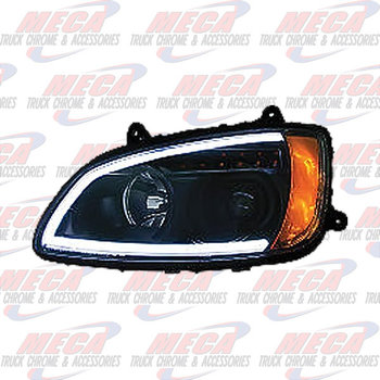 HEADLIGHT ASSEMBLY KW T660 T700 DRIVER SIDE BLACK PROJECTOR
