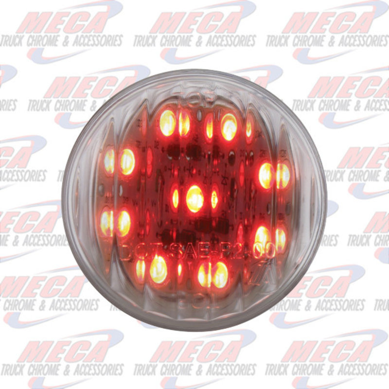 2'' LED RED CLEAR 9 DIODES MARKER LIGHT RIBBED