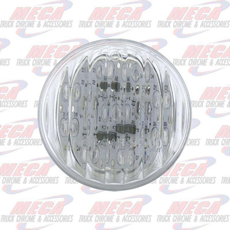 """2"""" LED AMBER CLEAR 9 DIODES MARKER LIGHT RIBBED UP"""