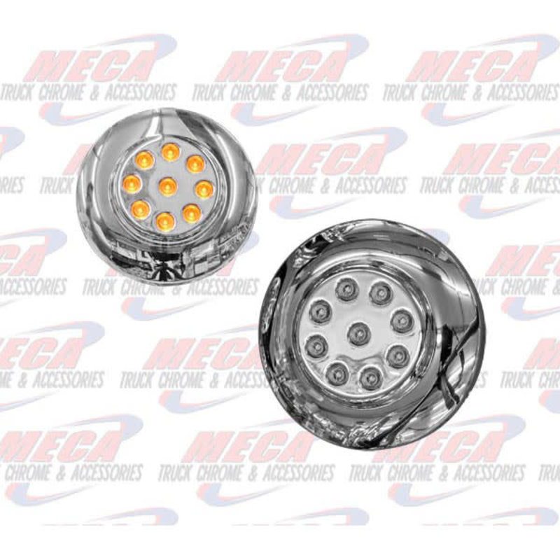 2'' LED AMBER CHROME CLEARANCE MARKER LIGHT W/FLANG