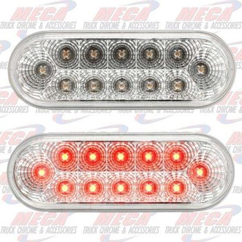 LED CLEAR RED OVAL W/ REFLECTORS