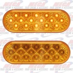 LED AMBER OVAL W/ REFLECTORS 16 LED