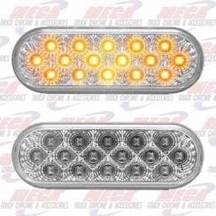 LED AMBER CLEAR OVAL W/ REFLECTORS 16 LED