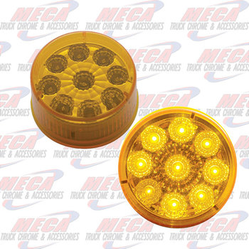 LED 2'' 9 DIODES AMBER REFLECTOR LENS MARKER LIGHT