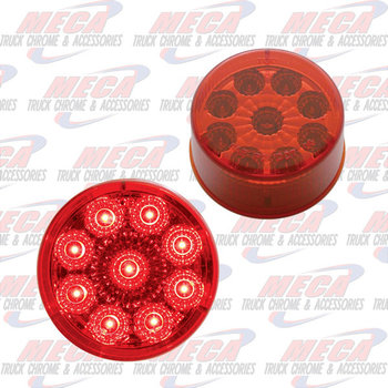 LED 2'' 9 DIODES RED REFLECTOR LENS MARKER LIGHT