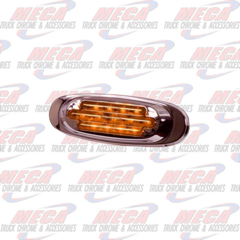 13 LED CHROME OVAL MARKER LIGHT CLEAR AMBER