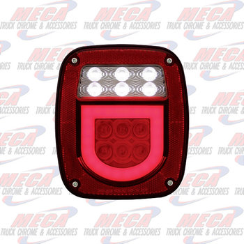 TAIL LIGHT OLD JEEP STYLE W/ HALO W/  LIC PLATE LT