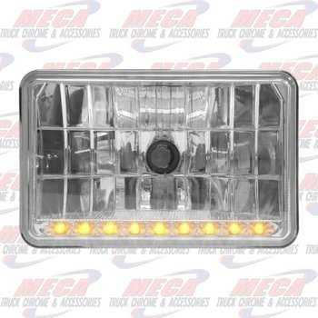 HEADLAMP HIGH BEAM SMALL RECT W/ 9 AMBER LED ROW