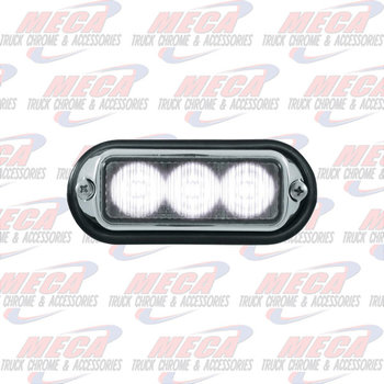 STROBE LIGHT 3 LED WHT HIGH POWER W/ CHROME BEZEL