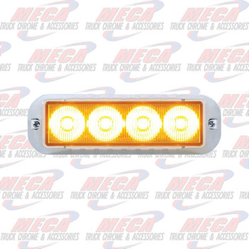 STROBE LIGHT 4 LED AMB HIGH POWER W/ CHROME BEZEL