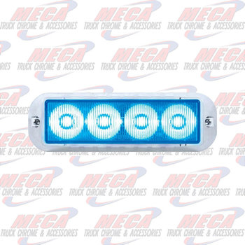 STROBE LIGHT 4 LED BLUE HIGH POWER W/ CHROME BEZEL