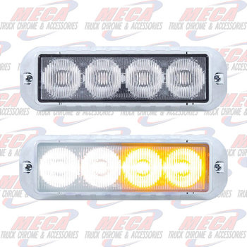 STROBE LT 4 LED AMB/WHT HIGH POWER W/ CHROME BEZEL