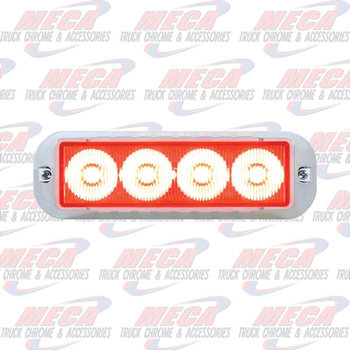 STROBE LIGHT 4 LED RED HIGH POWER W/ CHROME BEZEL