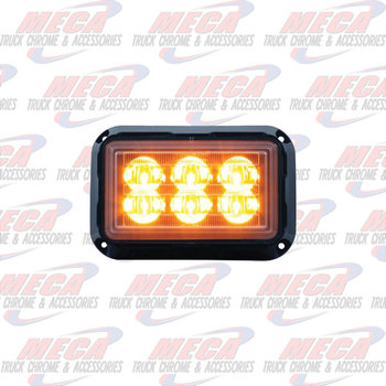 "STROBE 6 LED AMBER HIGH POWER 5.5""Lx3-5/8""Wx1-5/8"""